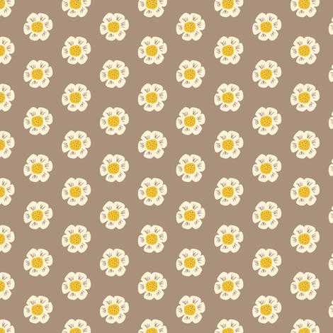 Little Flower on Mocha fabric by jacquelinehurd on Spoonflower - custom fabric