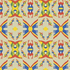 Tribal Pattern with Colorful Birds