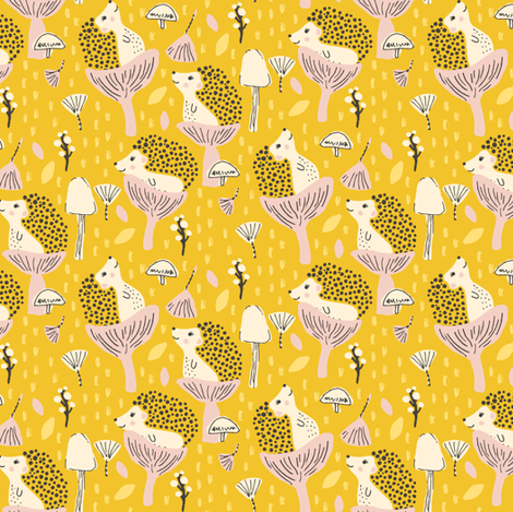 Happy Hedgehogs fabric by jacquelinehurd on Spoonflower - custom fabric
