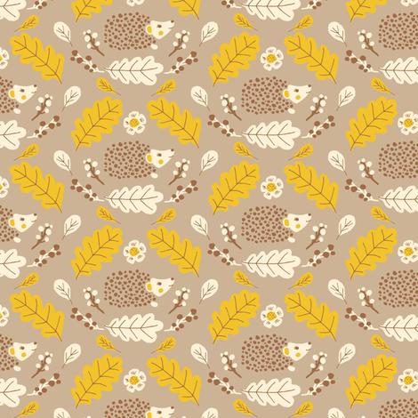Folk hedgehogs in yellow fabric by jacquelinehurd on Spoonflower - custom fabric