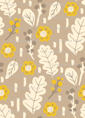 Fall leaves and flowers in yellow
