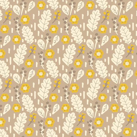 Fall leaves and flowers in yellow fabric by jacquelinehurd on Spoonflower - custom fabric