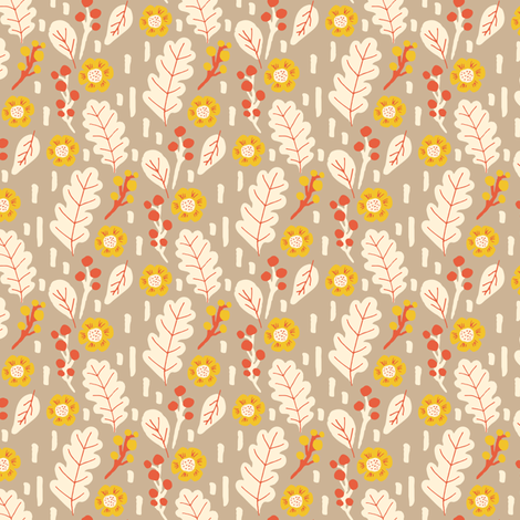 fall leaves and flowers fabric by jacquelinehurd on Spoonflower - custom fabric