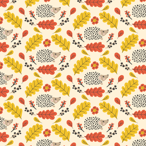 Fall Folk Hedgehogs fabric by jacquelinehurd on Spoonflower - custom fabric