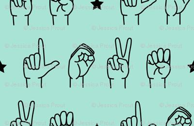 LOVE - sign language  fabric