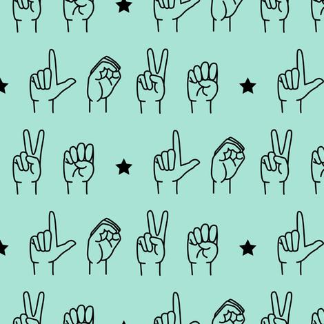 LOVE - sign language  fabric fabric by littlearrowdesign on Spoonflower - custom fabric