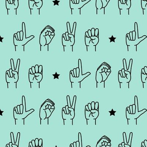 LOVE - sign language  fabric