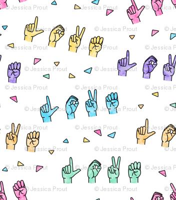 LOVE - Multi  colored with triangles