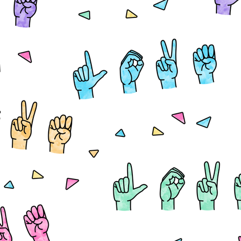 LOVE - Multi  colored with triangles fabric by littlearrowdesign on Spoonflower - custom fabric