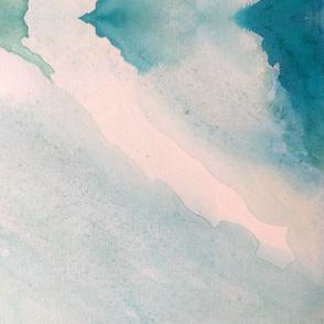 Lagoon Blues Soft Abstract Watercolor