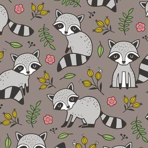 Raccoon with Leaves & Flowers on Warm Grey Brown