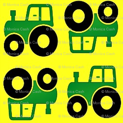 Green and yellow tractors small