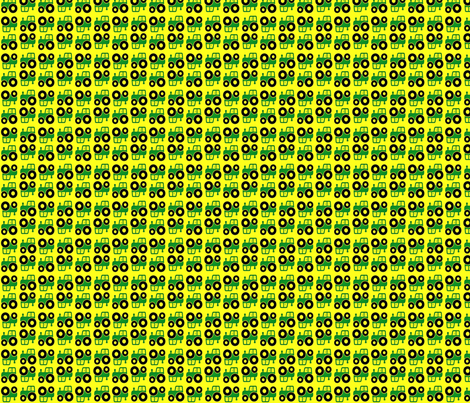 Green and yellow tractors small fabric by mlc13 on Spoonflower - custom fabric