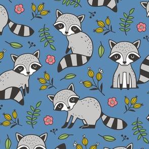 Raccoon with Leaves & Flowers on Dark Blue Navy