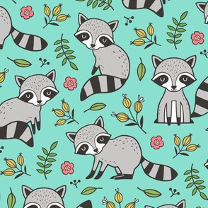 Raccoon with Leaves & Flowers on Green Mint