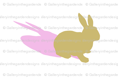 Tan Bunny Rabbit Silhouette with Pink Shadow