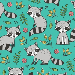 Raccoon with Leaves & Flowers on Green