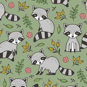 Raccoon with Leaves & Flowers on Olive Green