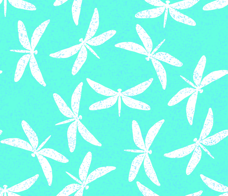 White Speckled Dragonflies on Blue fabric by themadcraftduckie on Spoonflower - custom fabric