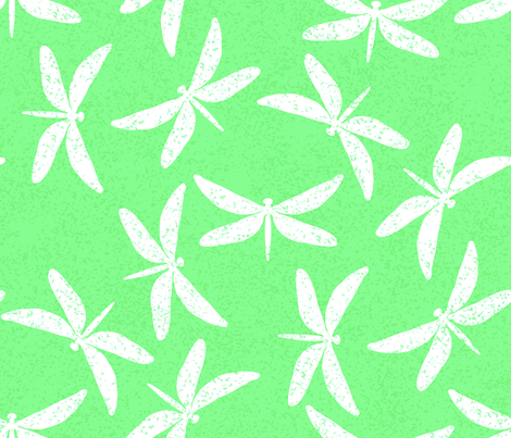 White Speckled Dragonflies on Green fabric by themadcraftduckie on Spoonflower - custom fabric
