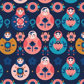 Nesting Dolls Pattern Dark