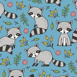 Raccoon with Leaves & Flowers on Blue