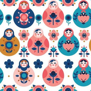 Nesting Dolls Pattern White
