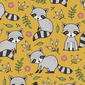 Raccoon with Leaves & Flowers on Mustard Yellow