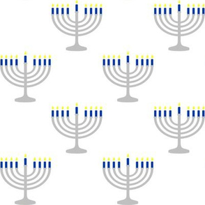 Two Inch Blue and Matte Silver Menorahs on White - Larger Scale