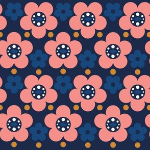Cute Blue Scandinavian Flowers