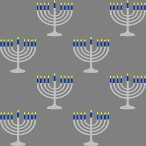 Two Inch Matte Silver and Blue Menorahs on Medium Gray - Larger Scale