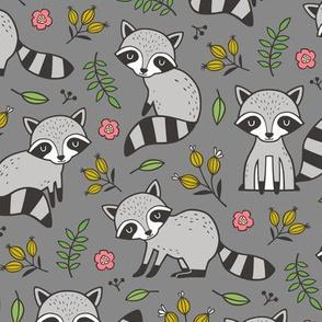 Raccoon with Leaves & Flowers on Dark Grey