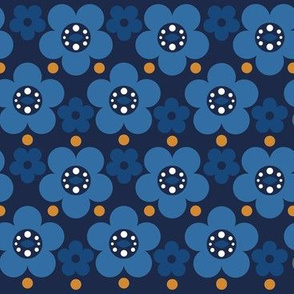 Scandinavian Flowers Cute Total Blue