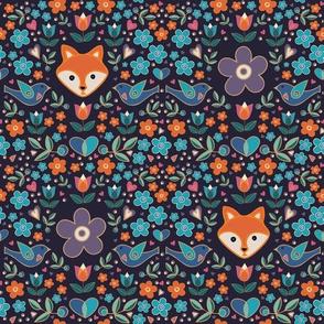 Fox in the Garden with Purple Flowers