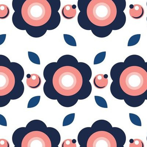 Scandinavian Rounded Flowers Blue