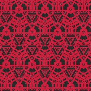 Red and Black Hexagon Geometric