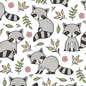 Raccoon with Leaves & Flowers on White