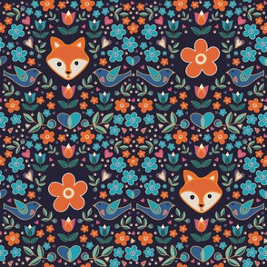 Little Foxes in the Garden with Orange Flowers