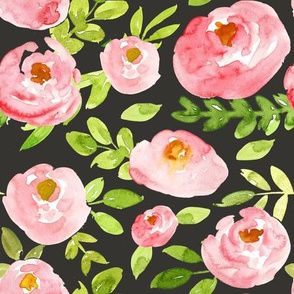soft pink watercolor floral on black