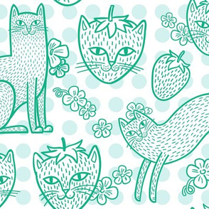 Strawpurry in Leafy Green Dots