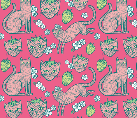 Strawpurry in Sweet Pink fabric by pinkowlet on Spoonflower - custom fabric