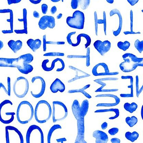 Dog Words Watercolor Large Scale || blue white animal pet bone paw heart love indigo