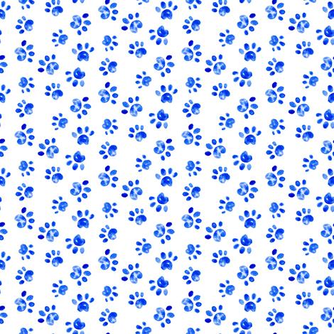 Small Dog Watercolor Paw Print    Animal spots dots pet bone indigo blue white _ Miss Chiff Designs  fabric by misschiffdesigns on Spoonflower - custom fabric