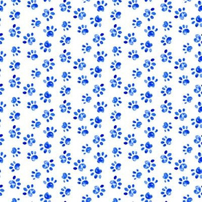 Small Dog Watercolor Paw Print || Animal spots dots pet bone indigo blue white _ Miss Chiff Designs