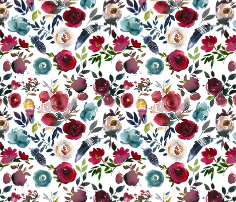 Rose Wine Boho Florals fabric by hipkiddesigns on Spoonflower - custom fabric