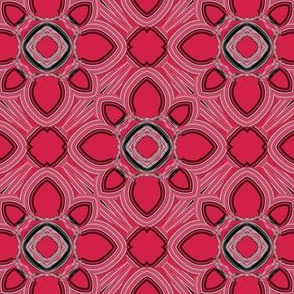 Red White and Black Digital Floral