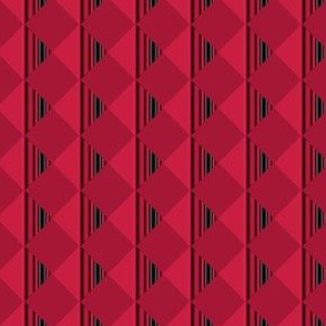 Red Art Deco Diamond Stripes