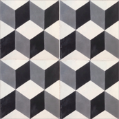 3D Cube Hand Painted Cement Tile
