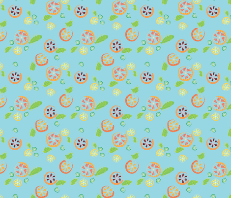 Citrus Mix on Blue  fabric by picostitch on Spoonflower - custom fabric