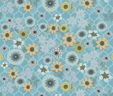 Bohemian Blues Flower Power ++ fabric by gargoylesentry on Spoonflower - custom fabric